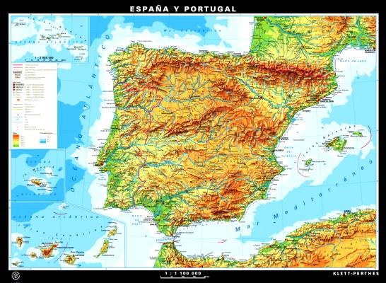 Espana y Portugal, physical/political, front