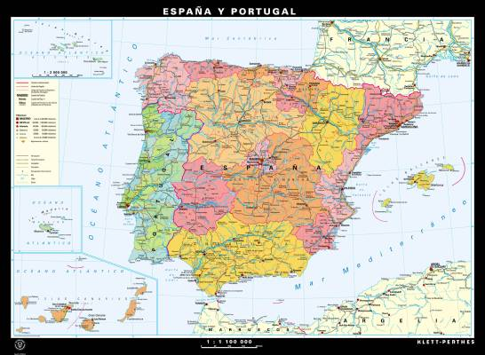 Espana y Portugal, physical/political, reverse